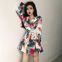 bahar giyim koreası toptan satış-Kadın Giyim ofis bayan ilkbahar sonbahar Kore moda gevşek bağ bozumu çiçek baskı uzun kollu dantel Yukarı Coats Ceketler çentikli