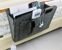 Wholesale milk silk clothes for sale - Group buy Christmas Grey Bed Storage Pockets Felt Bedside Hanging Storage Organizer Holder with Inner Pockets for Bed Table Sofa