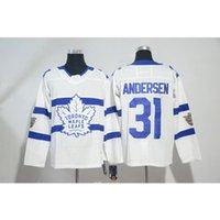 ingrosso foglia di acero bianco-Mens Toronto Maple Leafs 100 ° Anniversario Frederik Andersen Home Away Blue White Hockey Jersey Tutti i giocatori