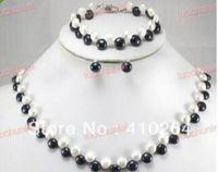5797cbfbe581 ENVÍO GRATIS Maravilloso genuino blanco negro FW collar de perlas pulsera  pendiente conjunto