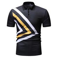 polos amarillos hombres al por mayor-2019 Nueva Moda Polo Camisa de Hombre de Manga Corta Camisa de Polo Irregular Negro Amarillo Raya Hombres de Negocios de Calidad Superior Polos Masculinos T501