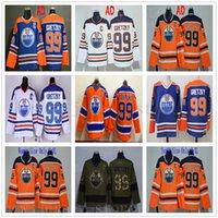 patchs armée vintage achat en gros de-Edmonton Oilers 99 Wayne Gretzky Maillots Hockey Orange Blanc Bleu Vintage CCM Salut Au Service Armée Homme Vert Femmes Enfants Jeunes C Patch