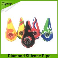 Wholesale galss pipes resale online - Diamond Silicone Smoking Pipes Water Hookah Bong Portable Hand Pipes With galss Bowl VS twisty glass