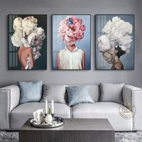 Wholesale sexy abstract paintings for sale - Group buy Abstract Modern Sexy Girl Feathers Characters Posters And Prints Wall Art Canvas Painting Wall Pictures For living Room Unframed