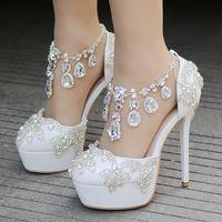 Applique Rhinestone Crystal Wedding Shoes Australia | New