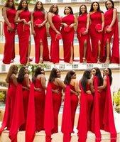 elegante bodenlange brautjungfer kleiderhülsen großhandel-Elegante Schulter Schulter Meerjungfrau Brautjungfernkleider mit langen Ärmeln bodenlangen nach Maß Hochzeitsgast Kleider billig