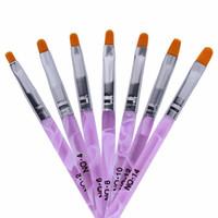 boas unhas acrílicas venda por atacado-NA024 7 pçs / lote Escova de Unhas De Acrílico UV Gel 3D Nail Art Pincel Canetas de Pintura Polonês Prego Escovas De Desenho Manicure Conjunto de Ferramentas Kit