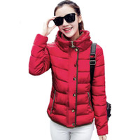 Wholesale womens warm slimming parka for sale - Group buy Price Low Clearance Fashion Warm Autumn Winter Jacket Women Slim Cotton Parkas Zipper Stand Collar Womens Winter Jacket Coat