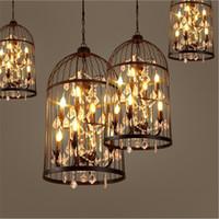люминесцентные лампы оптовых-Американский винтаж Подвесной светильник Bird Cage хрустальная люстра Home Deco E14 лампочка вилла Rust Iron промышленный ресторан Бар люстра свет