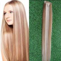 açık kahverengi saç uzantıları toptan satış-Klip İnsan Saç Uzantıları 8 adet / takım Açık Kahverengi / Bleach Sarışın # P8 / 613 Ağırlığında 100g Düz Örgü Remy Saç