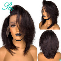 Wholesale ombre synthetic kinky curly wigs resale online - New Pixie Short Cut Bob Blunt Yaki Lace Front simulation Human Hair Wigs For Black Women Preplucked Kinky Straight synthetic hair wig