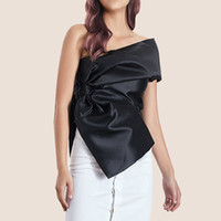 Wholesale womens summer shirts bows online – Shirt jacket female personality irregular bright solid color womens shirt bow oblique collar shirt jacket female