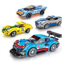 pequeno brinquedo infantil venda por atacado-Blocos de construção das crianças combinação de carro série de mobilização de corrida brinquedos infantis felizes pequenas partículas de alta compatibilidade montado bui