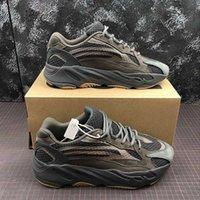 kahverengi süet ayakkabı kadınlar toptan satış-Moda Kanye West 700 v2 Geode Koyu Kahverengi Erkek Kadın Koşu Ayakkabı Kutusu Ile 3 M Yansıtıcı Süet Spor Sneakers