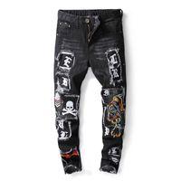 Wholesale mens punk trousers for sale – denim Mens Black Jeans Slim Fit Men Stretch Jeans Tiger Skull Embroidery Badge Punk Streetwear Autumn Winter Denim Trousers Men