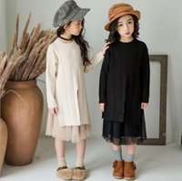 ingrosso gonne lunghe per bambini-2019 autunno neonate Abbigliamento solido morbido Knitting Dress 2 pezzi Set Childrens manica lunga Maglione E Ruffle Skirt Set Dress Bambini