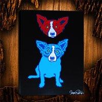 nackte leinwanddrucke großhandel-Blue Dog Mind 19,1 Stücke Leinwanddrucke Wandkunst Ölgemälde Wohnkultur (Ungerahmt / gerahmt) 24X32.