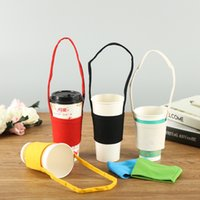 Wholesale canvas water bottle resale online - Canvas Coffee Drink Mug Sleeve Water Bottle Insulated Cover Bag Holder Strap Pouch Carrier Warm Heat Insulation Water Cup Bags