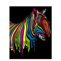 zebra öl leinwand großhandel-DIY Ölgemälde Durch Zahlen Zebra 22 50 * 40 CM / 20 * 16 Zoll Auf Leinwand Für Hauptdekoration Kits [Ungerahmt]