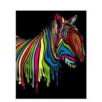 ingrosso tela di olio di zebra-Pittura a olio fai da te con i numeri Zebra 22 50 * 40 CM / 20 * 16 pollici su tela per kit di decorazione domestica [Senza cornice]
