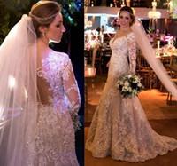 Wholesale wedding dresses for sale - Arabia Dubai Pearls Beads Wedding Dresses Sparkly Crystal Lace Applique Long Sleeve Wedding Gowns Vintage V Neck Mermaid Wedding Dress