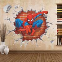 filme mural venda por atacado-3d parede quebrada decoração spider man adesivos de parede para quartos dos miúdos home decor diy cartaz do filme dos desenhos animados mural papel de parede decalques de parede