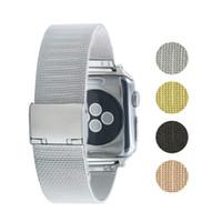 pulseira de relógio milanês venda por atacado-Correia de aço inoxidável para a Apple Watch 38 milímetros 42 milímetros Pulseira de malha Milanese para a série iWatch 4 3 Banda de substituição com Buckle Watchband