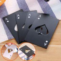 spielkarte ace großhandel-Bier Flaschenöffner Poker-Spielkarte Pik-As-Stab-Werkzeug Soda Cap Opener Geschenk Küchenhelfer Werkzeuge CA11434-3 100pcs