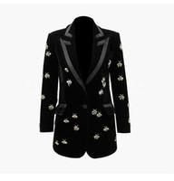 blazers pour femmes achat en gros de-504 XXXL 2019 été marque même style manteau à manches longues col en V bouton solide Blazers luxe Womens vêtements SANMUSEN