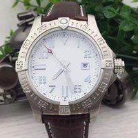 ingrosso orologi da polso in pelle bianca-Buona vendita BR 1884 Blackbird 44 Avenger Seawolf quadrante bianco automatico cinturino in pelle meccanico lunetta in acciaio bianco orologi da uomo all'aperto