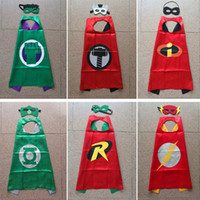 Wholesale girls mask cosplay resale online - 56 Styles Double Side cm Superhero Cape and mask Cosplay Cartoon Halloween Christmas Party Stage Performance for Kids boy girl