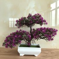 Wholesale lotus flower tree for sale - Group buy Ganoderma Tree Lotus Pine Tree Artificial Plant Flower Bonsai Set For Home Shop Garden Party Decor Table Top Decoration x22cm