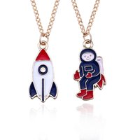 Wholesale N165 New Exquisite Creative Astronaut Necklace Cute Cartoon Modeling Spaceship Pendant Necklace Women Clavicle Chain