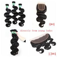 cheveux vierges achat en gros de-100% Cheveux Humains Grade 8A Corps Brésilien 3 Faisceaux avec Fermeture 8-28 pouces Vierge Remy Cheveux Corps Vague Beauty Supply Store