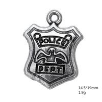rozet el yapımı toptan satış-10 adet-Charms, Antik Tibet gümüş Departmanı Badge Charms kolye Bilezik Kolye için 15x19mm Yapma DIY El Yapımı