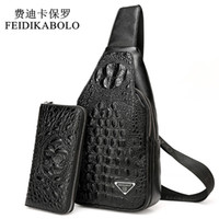 Wholesale 3d back pack online – custom 3D Crocodile Men Chest Pack Leather Travel Men s Crossbody Bags Male Shoulder Bag Back Bag Rucksack Men Clutch Purse