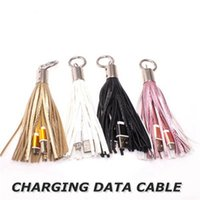Wholesale charging cable key for sale – best Promotion Leather Tassel Key Chain Ring Andriod USB Cable A Fast Charging Cable Mini Data Cord Charger Line for Samsung Cell Phones