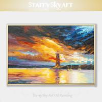 ingrosso acrilico paesaggi marini-Pure dipinto a mano astratta Paesaggio marino Faro Acrilico su tela a mano Colorful Sky acrilico della lama Pittura di paesaggio