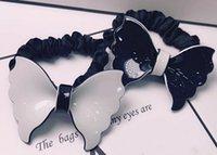 anéis de borracha branca venda por atacado-7X5CM preto e branco faixa de cabelo acrílico Europa e nos Estados Unidos populares arco de borracha banda cabeça corda destacável anel de pano contador presentes