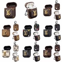 Wholesale headphone colors for sale - Group buy 9 colors Retro Headphone Case for Apple AirPods Leather Wireless Bluetooth Earphone Case With Hook Clasp Keychain Protective Cover