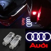 ledli projektör lambaları toptan satış-2x Araba Kapı LED Logo Işık Lazer Projektör Işıkları Hayalet Gölge Hoşgeldiniz Lamba Audi A1 için kolay Kurulum A3 A4 A5 A6 A7 A8 Q3 Q7 R8 RS TT S