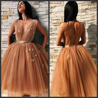 Wholesale pleated mini for sale - 2019 New Sexy Homecoming Dresses With Sashes Deep V Neck Tulle Cocktail Party Gown Knee Length Appliques Backless Tiered Skirts Prom Dresses