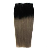 peruanischen bandhaar großhandel-Ombre Tape in Echthaarverlängerungen schwarz und grau peruanisch Sraight Remy Haarverlängerungen pu Hautschußband Haarverlängerungen 40 Stück 100g