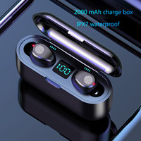 Wholesale chinese wireless microphones resale online - airpods Wireless Earphone Bluetooth V5 F9 TWS Wireless Bluetooth Headphone LED Display With mAh Power Bank Headset With Microphone