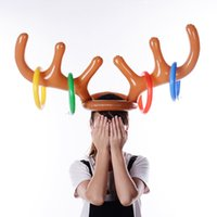 Wholesale game hats resale online - Santa Funny Reindeer Antler Christmas Toy Inflatable Reindeer Christmas Hat Antler Ring Toss Holiday Party Game Toys