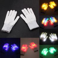 ingrosso luce festiva principale-2pcs LED creativo illuminazione lampeggiante Glow Mittens Guanti Rave Light Festive Event Party Supplies luminosi Guanti Cool Toys