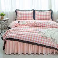 Wholesale twin size girl beds for sale - Pink Black plaid Cotton Lace King Queen Twin size Women Girl Bedding Set Bed Skirt Duvet Quilt cover Pillowcase Rural style