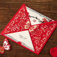 Wholesale free engagement invitation cards for sale - Group buy Red Butterfly Flower Laser Cut Wedding Invitations Chinese Style Invitation Cards for Bridal Shower Engagement