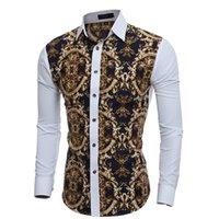 robes ajustées achat en gros de-Chemises à manches longues pour hommes Casual Hommes Grand motif de corps Impression Slim Fit Dress Chemises Hommes Hawaiian