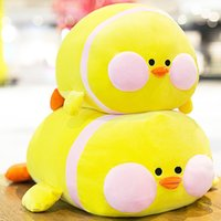 peluche pato amarillo al por mayor-Kawaii LaLafanfan Cafe Pato de peluche de juguete de dibujos animados Lindo pato amarillo relleno almohada muñeca suave Animal muñecas regalo de cumpleaños para niños